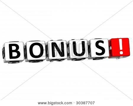 3D Get Bonus Credits Block Letters