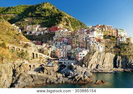 Manarola, One Of The Most Charming And Romantic Of The Cinque Terre Villages, Liguria, Northern Ital