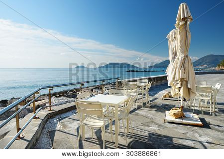 Outdoor Restaurants And Cafes On A Seafront Of Lerici Town, Located In The Province Of La Spezia In