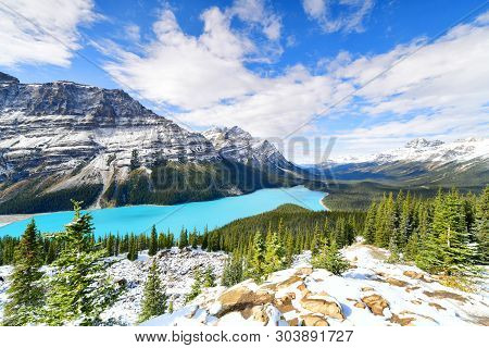 View From Bow Summit Of Peyto Lake In Banff National Park, Alberta,canada.