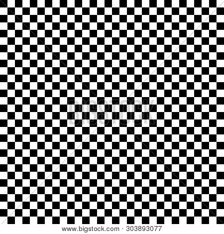 Checkered Geometric Vector Background With Black And White Tile. Chess Board. Racing Flag Pattern, T
