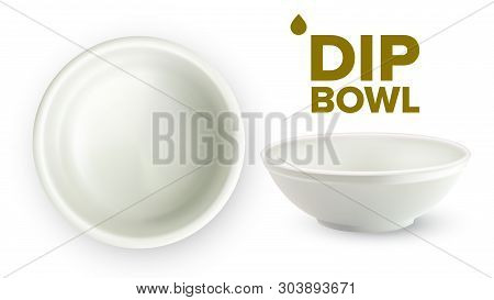 Empty White Ceramic Dip Bowl For Sauces . Blank Round Classic Dishware Container Ramekin For Sauces