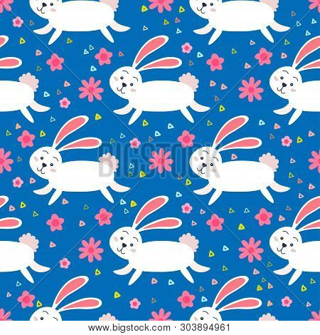 Rabbit Forest Seamless Pattern. A Woodland Animals