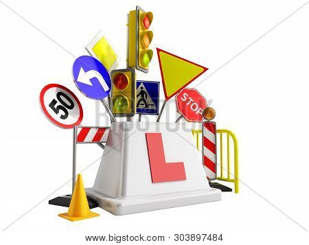 Concept Of Driver School Logo Road Signs Traffic Lights Fencing 3d Render On Wite No Shadow