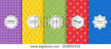 Vector Geometric Seamless Patterns. Collection Of Bright Colorful Background Swatches With Elegant M