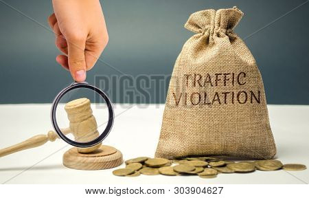 Money bag with the word Traffic violation and the judge's hammer. Law. Court. Fine, legal fees. Traffic Tickets. Speeding. Failure to yield. Turning into the wrong lane. The layer's services poster