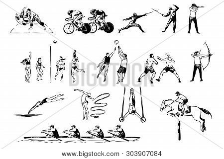 Martial Arts, Judo, Boxing Sparring, Cycling, Fencing Duel, Volleyball, Basketball Game, Archery, He