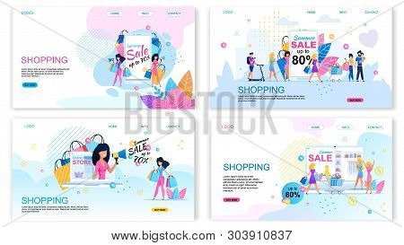 Landing Page Set Offering Buy With Different Discounts. Summer Sales. Shopping Vacation. Happy Carto