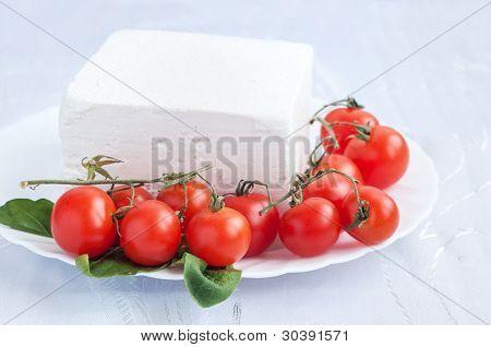 Cherry tomatoes and bulgarian white cheese