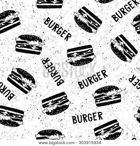 Vector Vintage Patter Witn Burger Illustration And Lettering