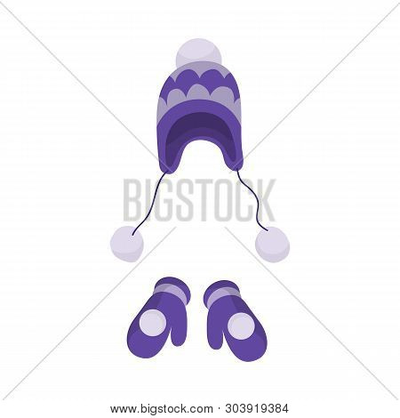 Vector Design Of Beanie  And Mitten Sign. Collection Of Beanie  And Ornament  Vector Icon For Stock.