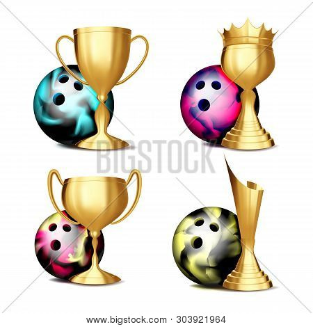 Volleyball Game Award . Volleyball Ball, Golden Cup. Modern Tournament. Design Element For Sport Pro