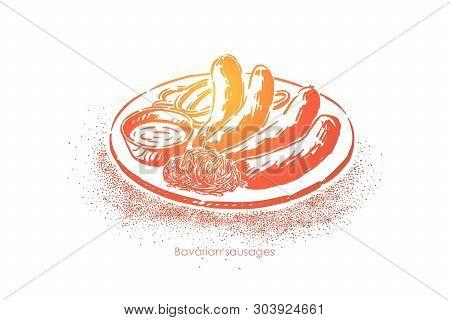Bavarian Sausages, Cooked Bratwurst, Grilled Meat With Sauce And Sauerkraut, Restaurant, Pub Menu. D