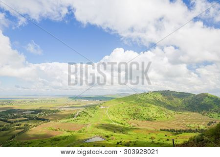 View On The Border Area Between Israel And Syria Seen From The Golan Heights, Israel.