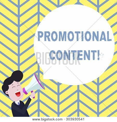 Handwriting text writing Promotional Content. Concept meaning persuade target audiences of the merits of a product Young Man Shouting into Megaphone Floating Round Shape Empty Speech Bubble. poster