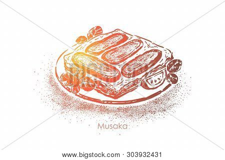 Greek Musaka, Layered Dish, Aubergines With Olive Oil, Mutton And Tomatoes With Bechamel Sauce. Trad