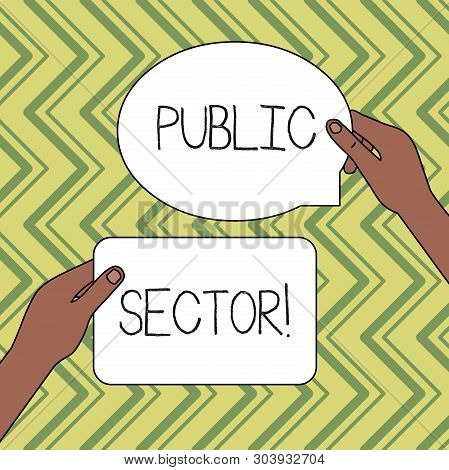 Word writing text Public Sector. Business concept for the part of an economy that is controlled by the state Two Blank Figured Tablets Signs Held in Hands One Above Other Text Space. poster