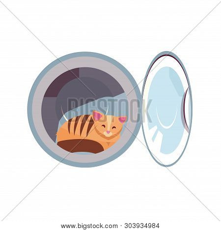 Cat In The Washing Machine Drum. Cozy Cat Is Naughty. Kitty Inside Laundry Washer Flat Cartoon Vecto