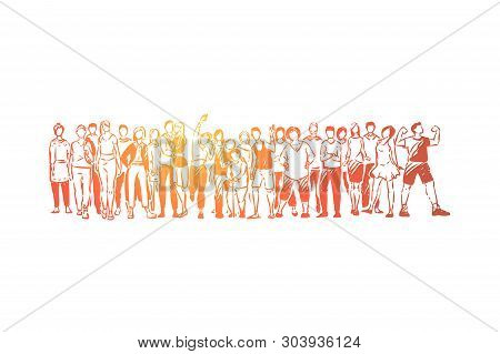 Community Diversity, Young And Old People Standing Together, Happy Men And Women In Casual Clothes W
