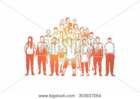Young Faceless People, Friendly Relationship, Friends Togetherness, Student Team, Demonstration, Soc