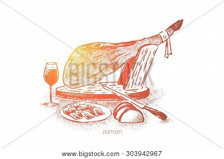 Gourmet Dinner, Traditional Jamon, Meat Slices On Plate With Knife And Wine, National Cuisine, Delic