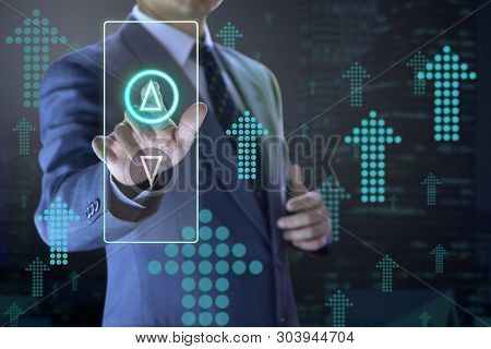 Business Administrator Pressing The Virtual Elevator Button For Next Levels Up In Concept Of More Ad