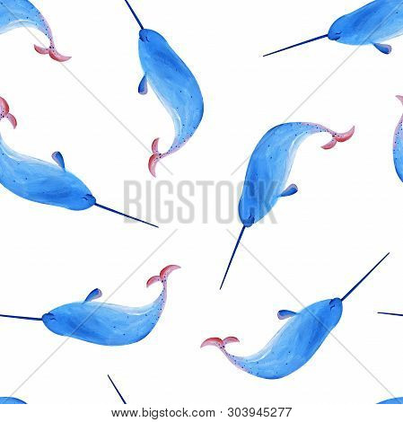 Gouache Seamless Blue Swimming Narwhal With Nice Smile