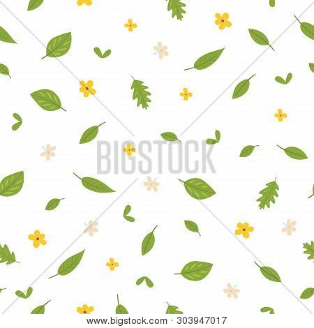 Seamless Pattern Of Leaves And Flowers. Flat Style. Background, Wallpaper. Eps 10