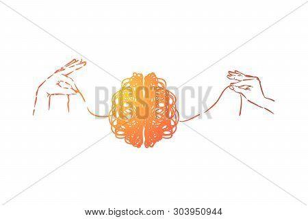 Scribble Brain, Hands Untangling Mind Thread, Problem Solving Metaphor. Neurological Problem, Diseas