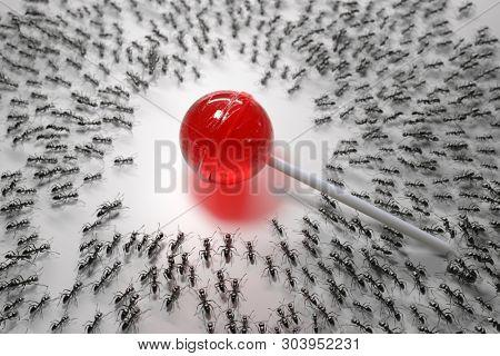 hordes of hungry ants attack lollipop, 3d illustration