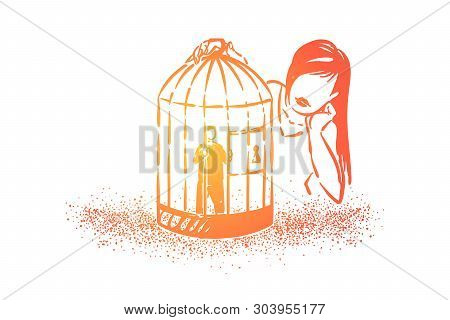 Love Cage Metaphor, Girl Looking At Boyfriend Tiny Character Imprisoned In Birdcage. Psychological P