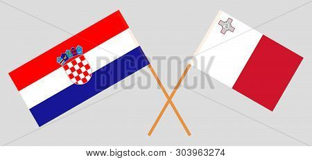 Croatia And Malta. The Croatian And Maltese Flags. Official Colors. Correct Proportion. Vector Illus