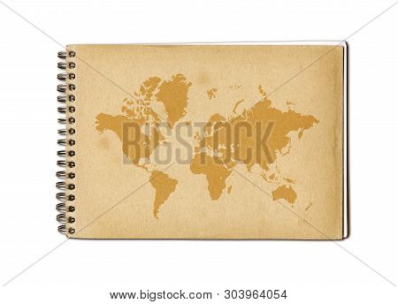 Vintage world map printed on an old notebook cover poster