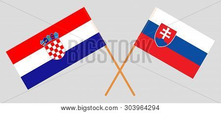 Croatia And Slovakia. The Croatian And Slovakian Flags. Official Colors. Correct Proportion. Vector