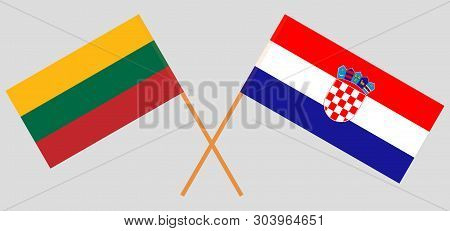 Croatia and Lithuania. The Croatian and Lithuanian flags. Official colors. Correct proportion. Vector illustration poster