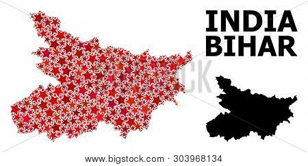 Red Star Mosaic And Solid Map Of Bihar State. Vector Geographic Map Of Bihar State In Red Color Shad