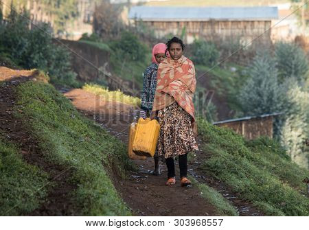 OROMIA, ETHIOPIA-SEPTEMBER 12, 2017: Unidentified young women carry water jugs to get fresh water in rural Oromia, Ethiopia.