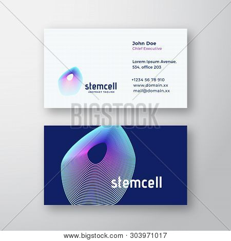 Stem Cell Abstract Vector Logo And Business Card Template. Elegant Gradient Biology Or Medical Symbo