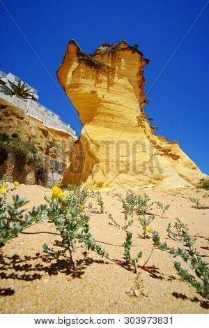 View On The Beach Praia Do Tunel With Typical Yellow Rock In Albufeira, Algarve, Portugal.