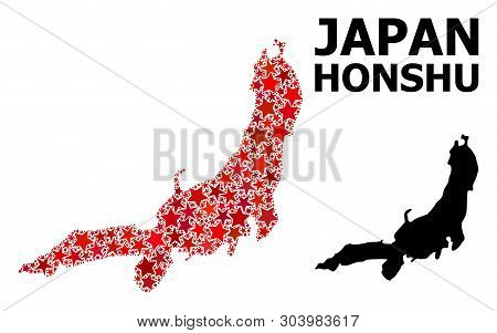 Red Star Pattern And Solid Map Of Honshu Island. Vector Geographic Map Of Honshu Island In Red Color
