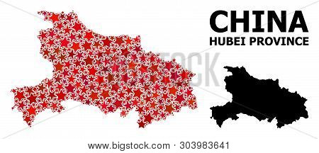 Red Star Mosaic And Solid Map Of Hubei Province. Vector Geographic Map Of Hubei Province In Red Colo