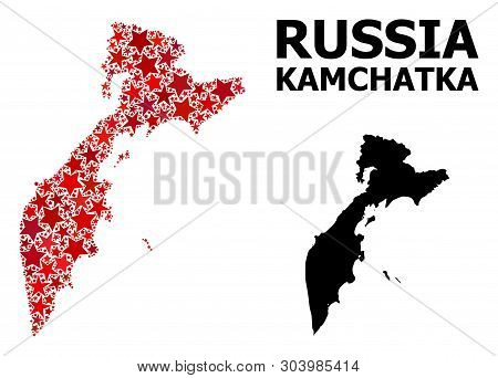 Red Star Mosaic And Solid Map Of Kamchatka Peninsula. Vector Geographic Map Of Kamchatka Peninsula I