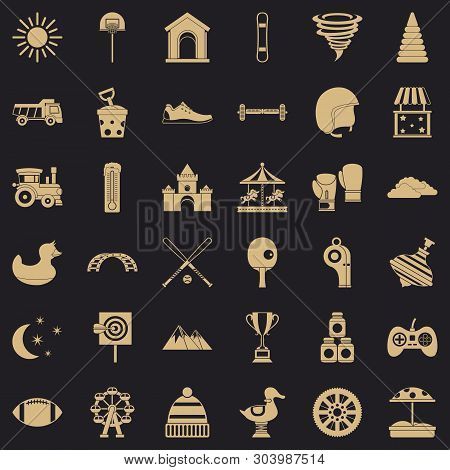 Playground Icons Set. Simple Style Of 36 Playground Vector Icons For Web For Any Design
