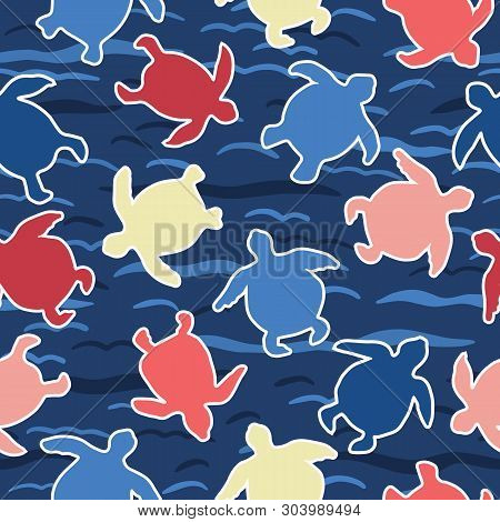 Top View Of Swimming Sea Turtles Pattern. Seamless Vector Sealife Background. Hand Drawn Endangered
