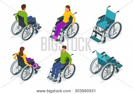 Isometric Wheelchair Isolated. Man And Woman In Wheelchair. Medical Support Equipment. Health Care C