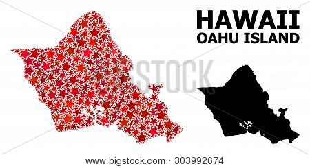 Red Star Mosaic And Solid Map Of Oahu Island. Vector Geographic Map Of Oahu Island In Red Color Tone