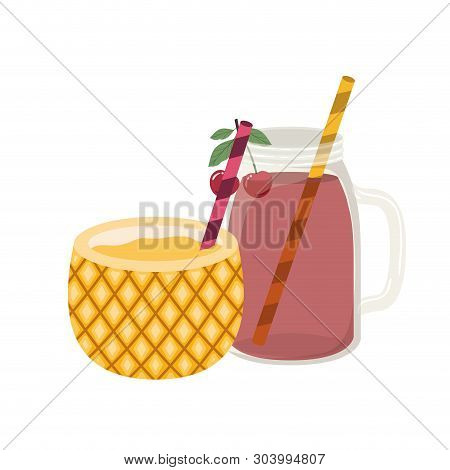 Glass With Pineapple And Skinny Drink Vector Illustration Design