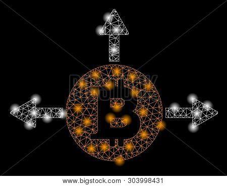 Bright Mesh Bitcoin Variant Directions With Glare Effect. Abstract Illuminated Model Of Bitcoin Vari