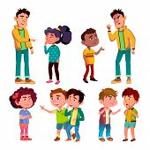 Sad And Angry Victim Character Boy And Girl Vector. Teenager Boy Laughing And Swear On Victim Kids, Children Trolling Abusive Classmate. Social Bullying Concept Flat Cartoon Illustration poster