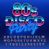 80s Disco Party alphabet font. Letters and numbers. Stock vector typescript font for your design in retro 80s style. poster